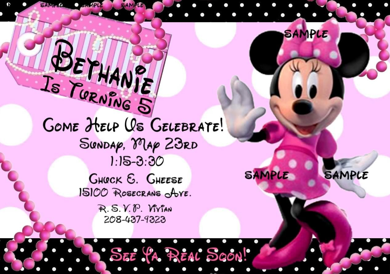 Minnie Mouse Invitations Template Free 2018