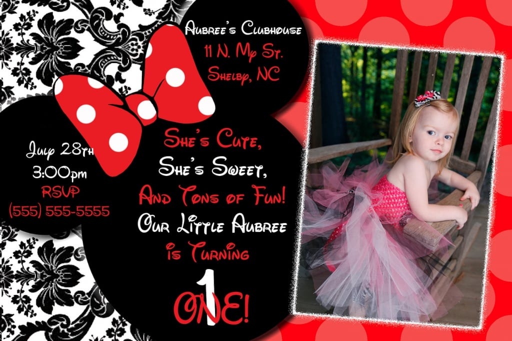 Minnie Mouse Photo Invitations Personalized