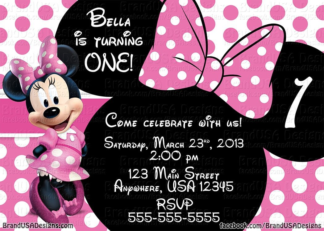 Minnie Mouse Pink Birthday Invitations