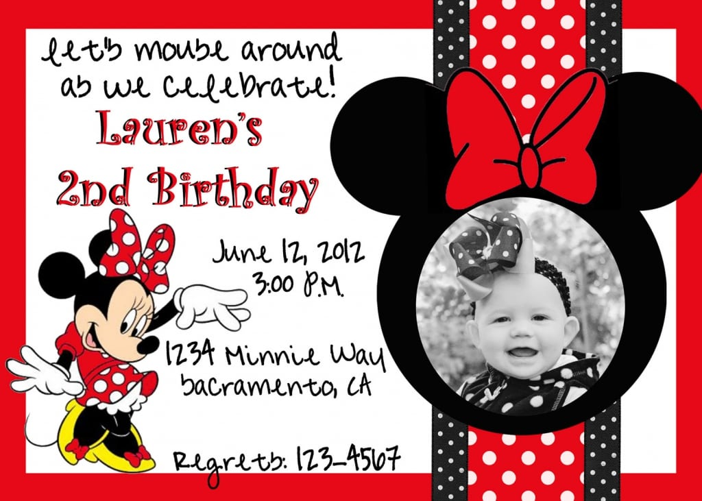 Minnie mouse blank invitations red – Minnie Mouse Birthday Invitation