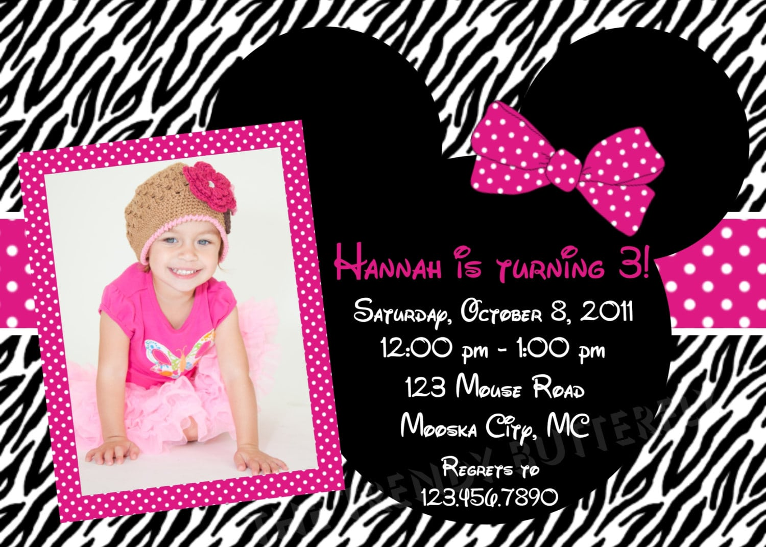Minnie Mouse Zebra Invitation Template