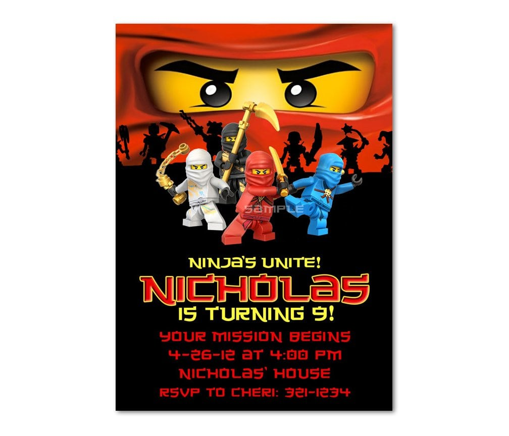 Ninjago Birthday Party Invitations Printable