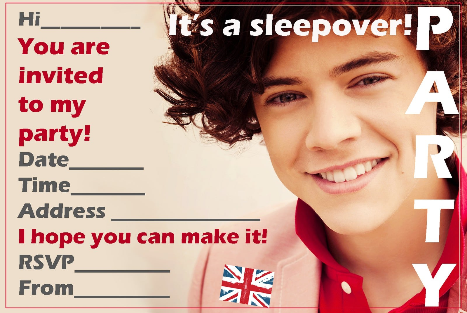 One Direction Birthday Invitation Template 2