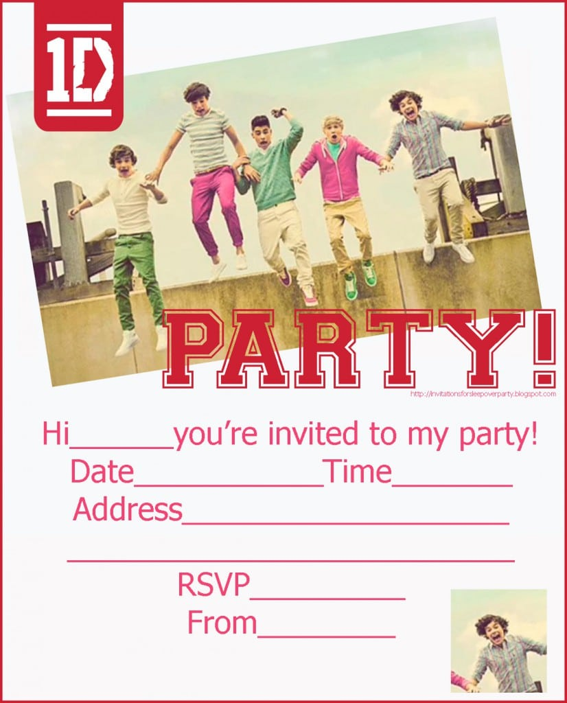 One Direction Birthday Invitation Template