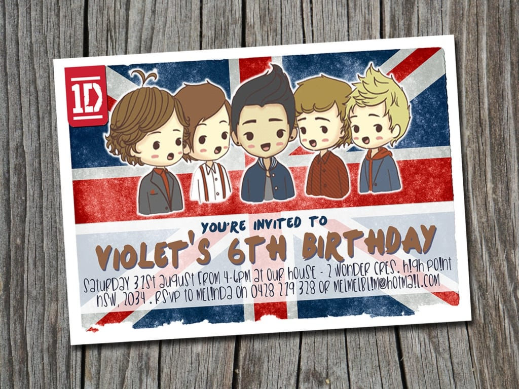 One Direction Birthday Invitations Australia