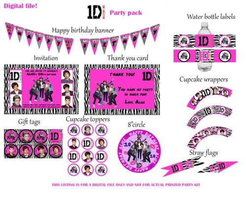 Custom Concert Ticket Invitation One Direction Printable Party
