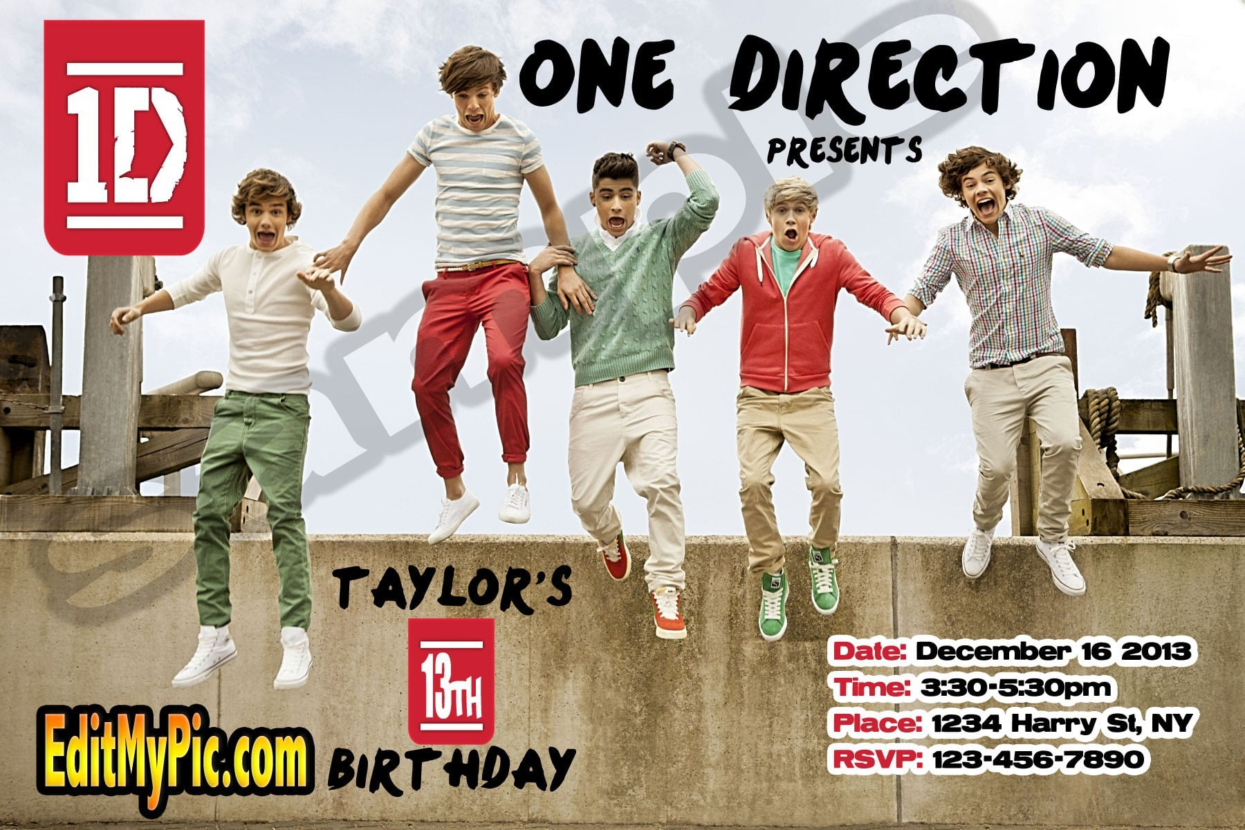 One Direction Printable Birthday Invitations