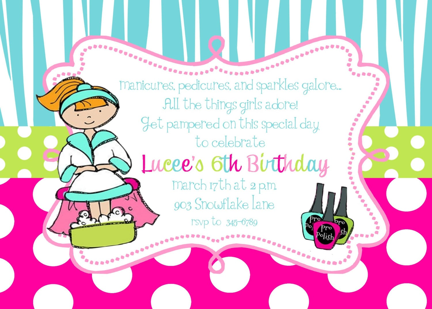 Pamper Party Invitations For Girls