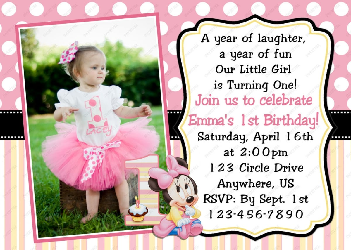 Personalized 1st Birthday Invitations Minnie Mouse