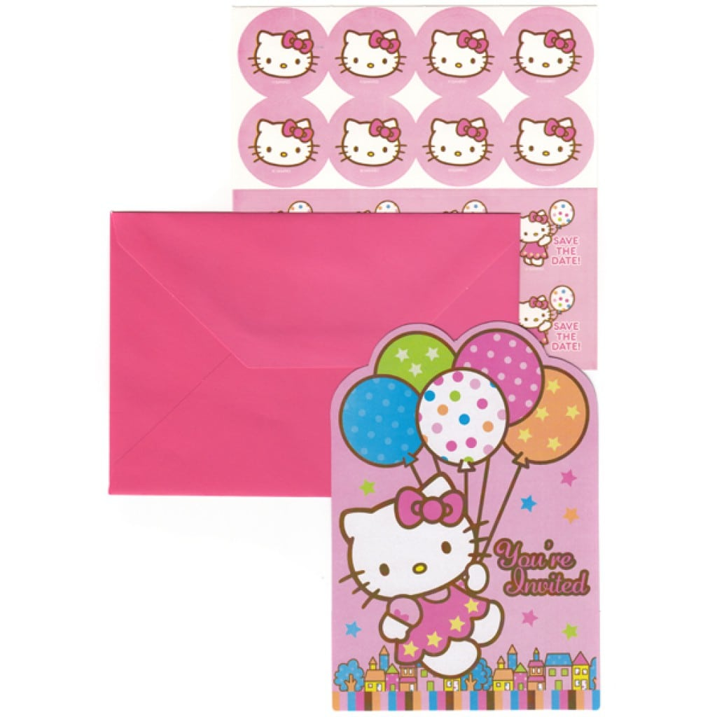 Pink Hello Kitty Birthday Invitation Sample For Kids 4