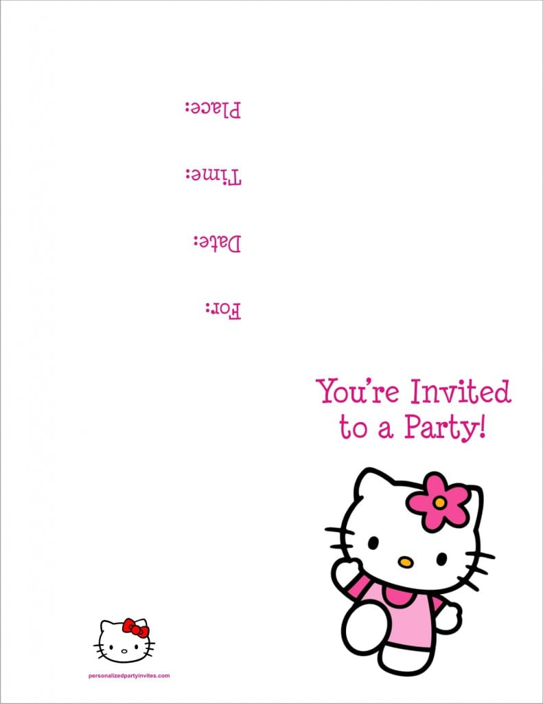 Pink Hello Kitty Birthday Invitation Sample For Kids
