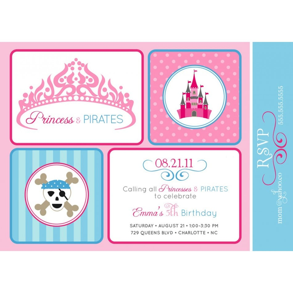 Pirate And Princess Party Invitations Template - Party invitation template: princess party invitation template