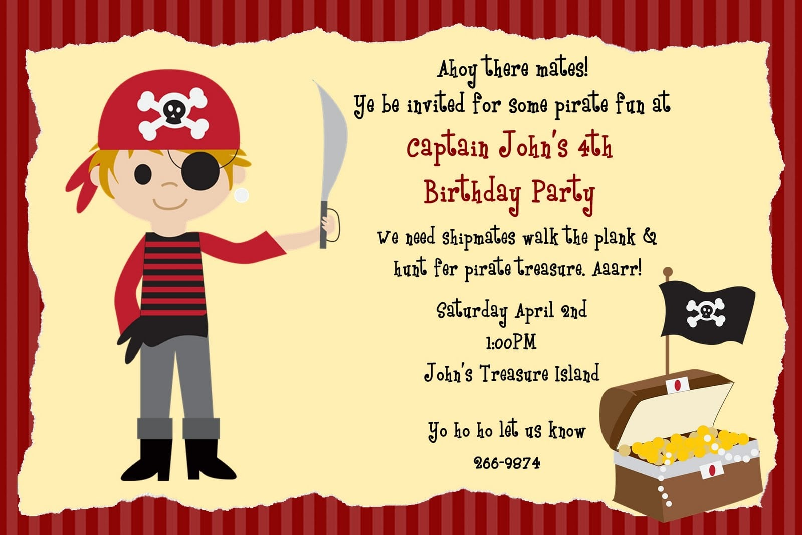 Pirate birthday party invitations templates - photo#3