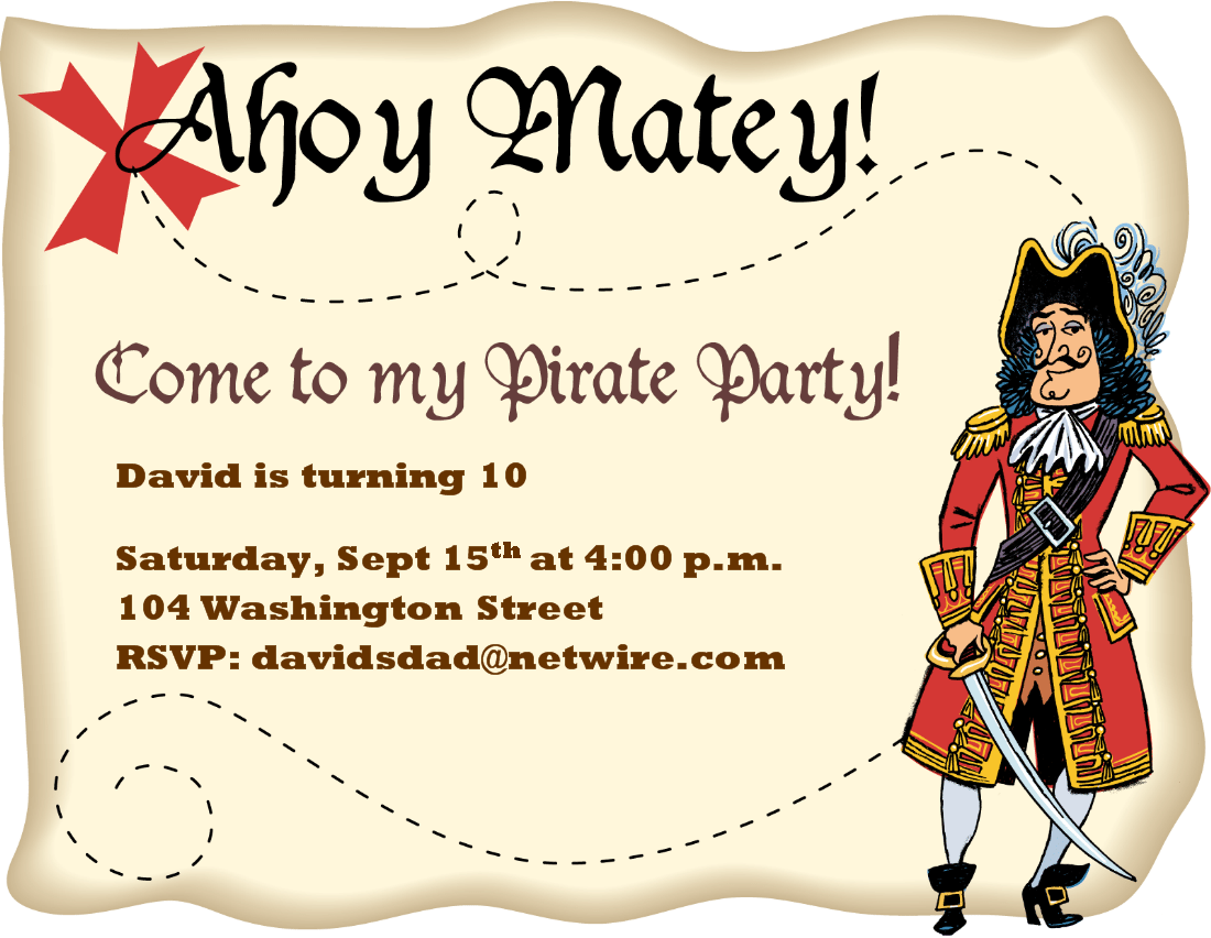 Fantastic Pirate Party Invitations Free Images - Invitation Card ...