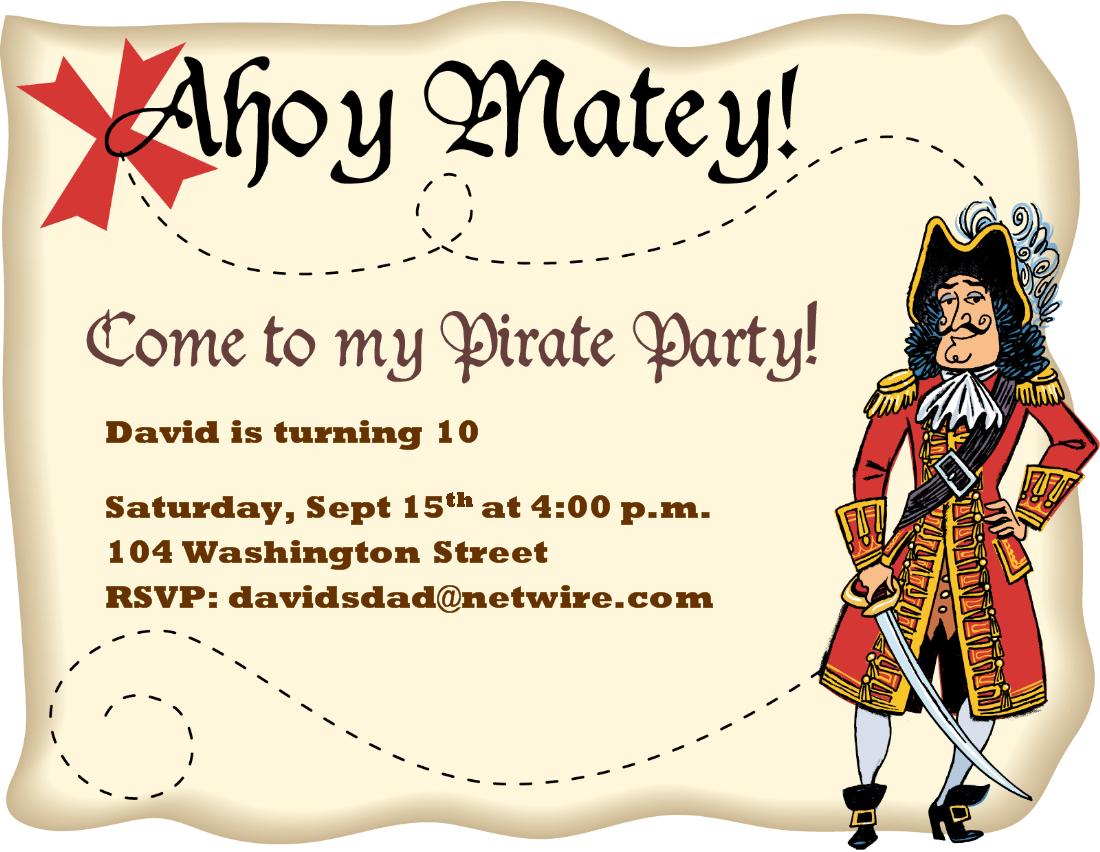 Pirate birthday party invitations templates - photo#9