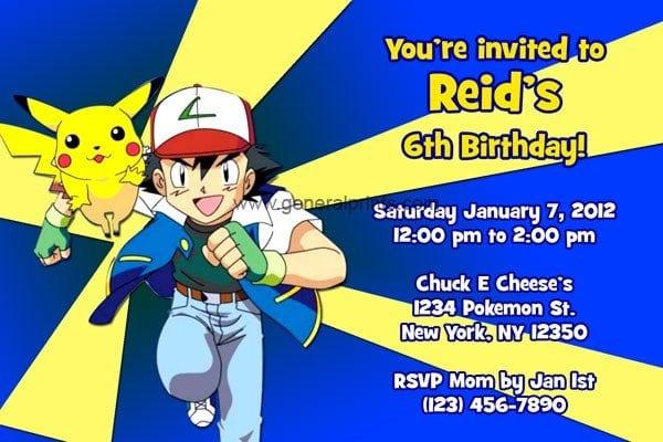 Pokemon Birthday Invitation Templates 3