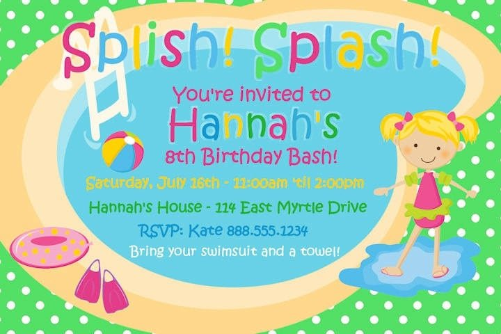 Pool Party Invitation Template For Powerpoint Free 3