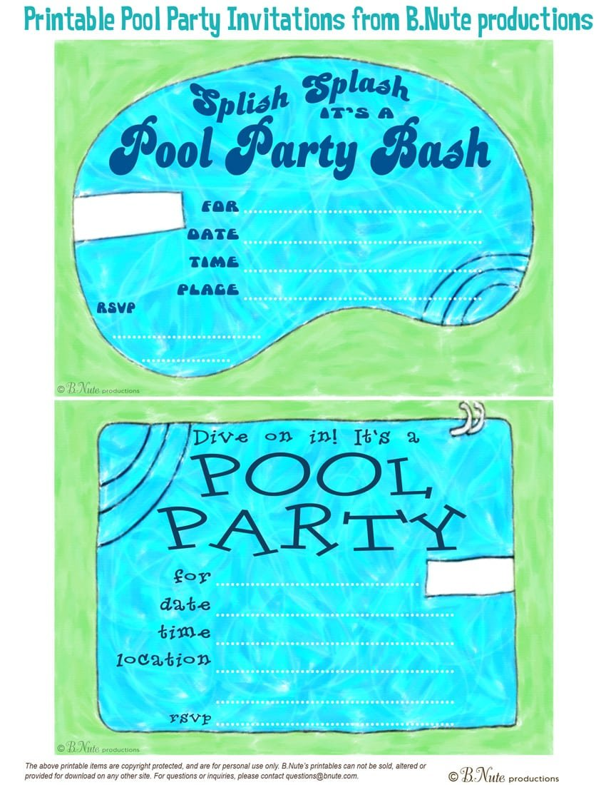 Pool Party Invitations Print Out