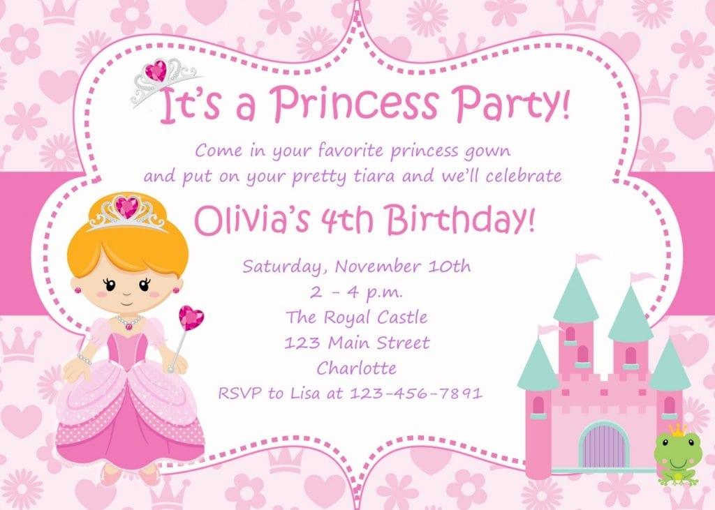 Princess Birthday Party Invitations Printable