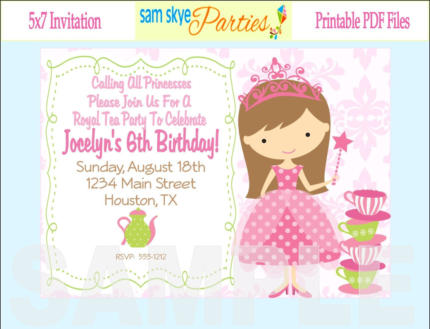 Princess Birthday Party Invitations Template