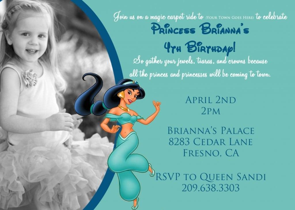 Princess Jasmine Invitations