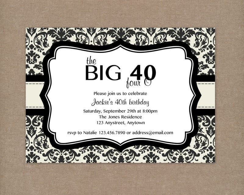 Printable 40th birthday invitations for women bookmarktalkfo Image collections