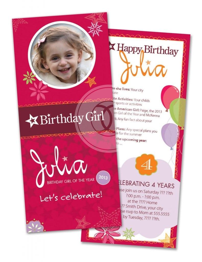 Printable American Girl Birthday Invitations