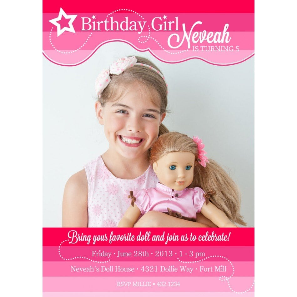 Printable American Girl Doll Invitations