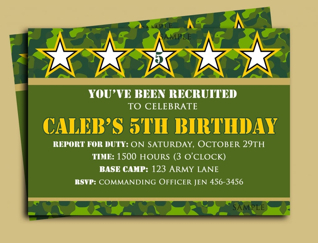 Printable Army Birthday Invites