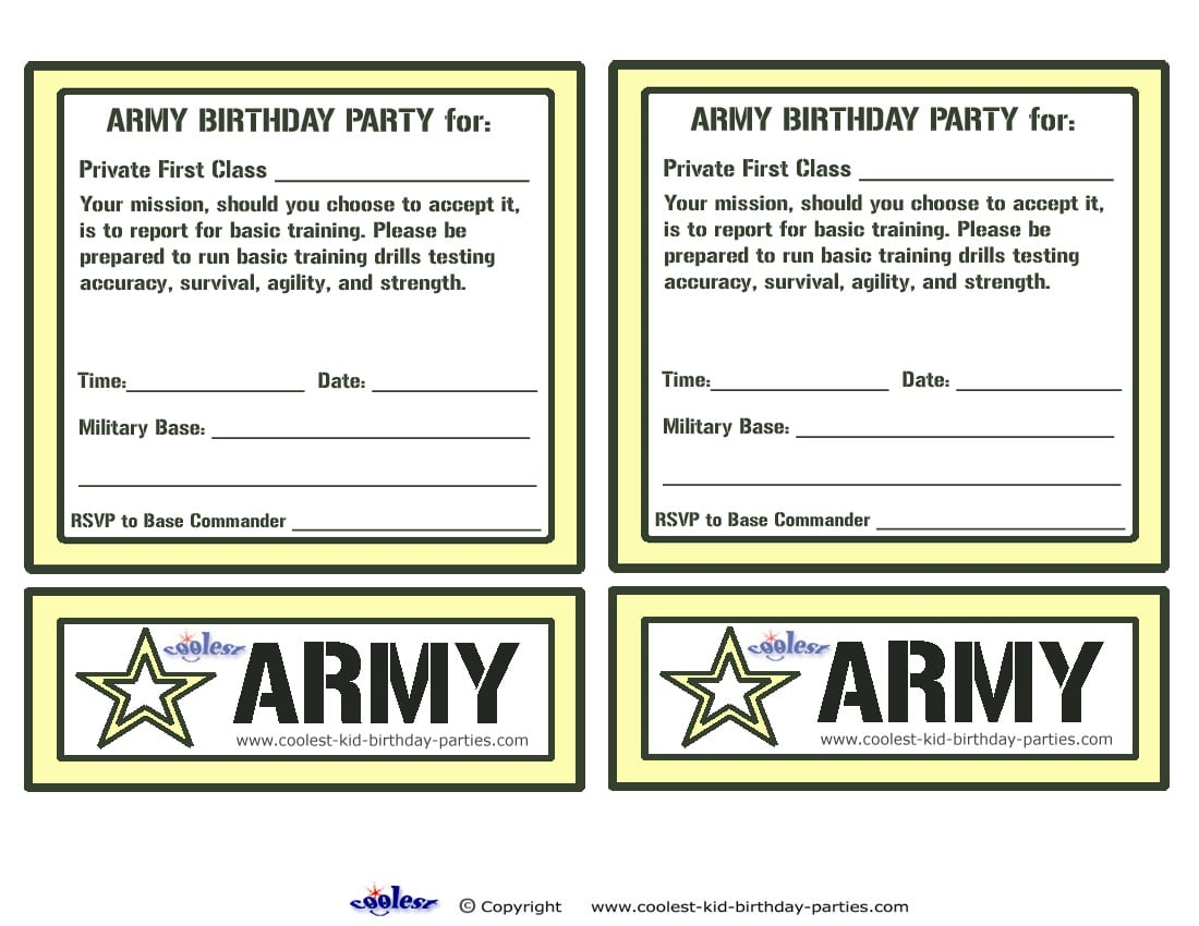 Printable Army Party Invitations