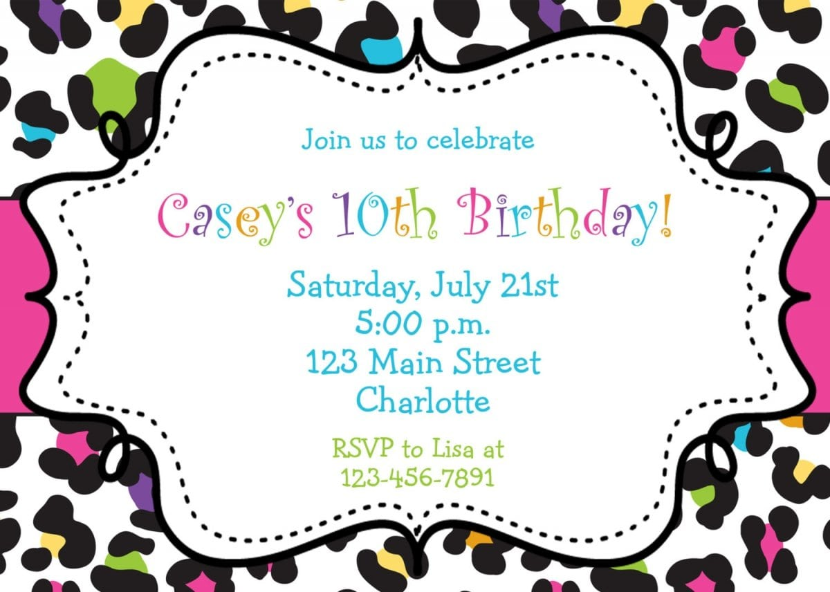Printable Birthday Party Invitations For Girls