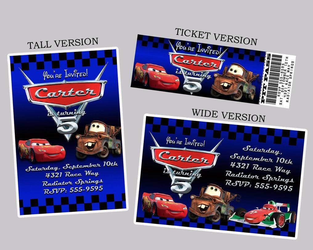 Printable Disney Cars 2 Birthday Invitations