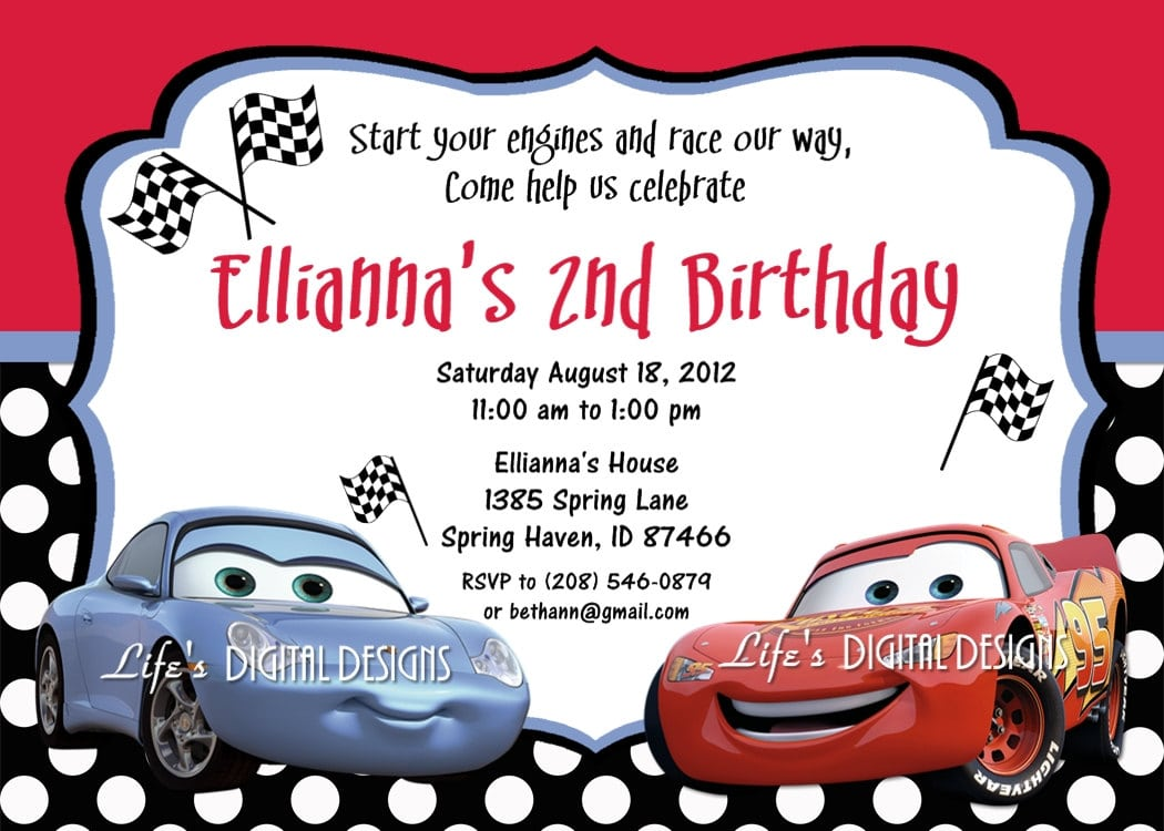 Printable Disney Cars Birthday Invitations
