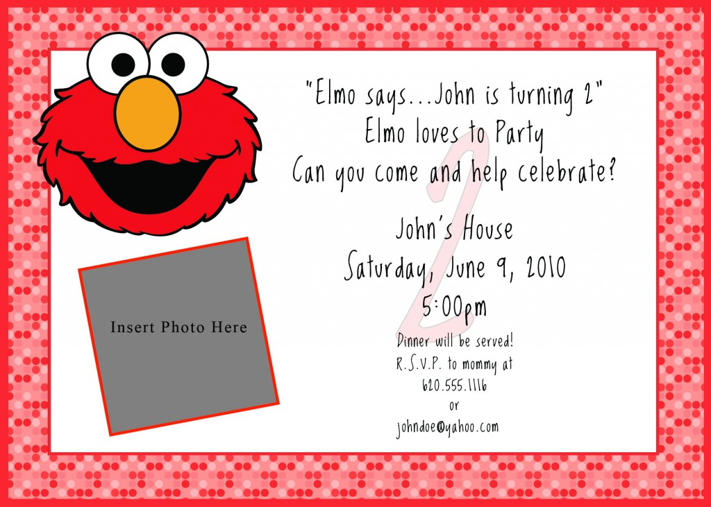Printable Elmo Birthday Invitations Template