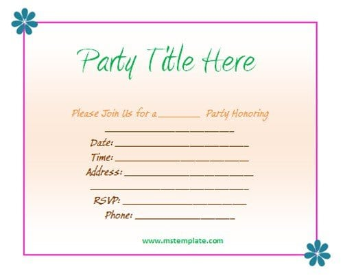 Printable Free Template Housewarming Party Invitations 3  Free Template For Party Invitation