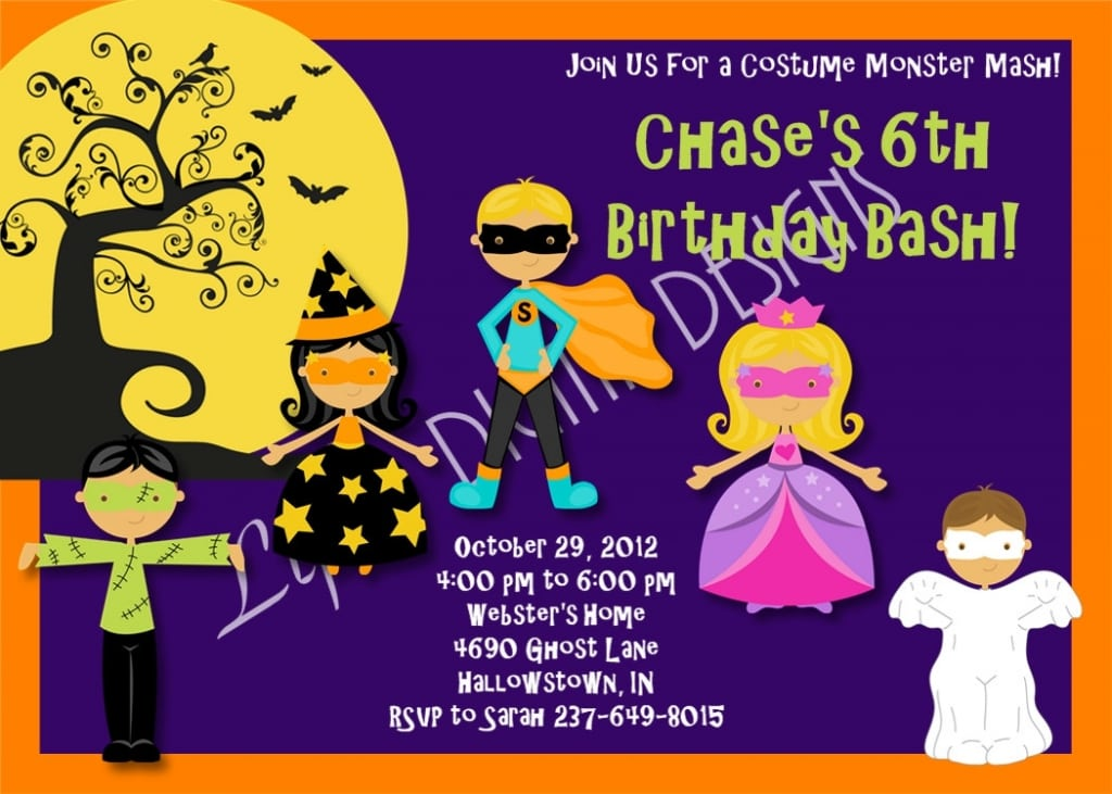 Printable Halloween Birthday Party Invitations Free