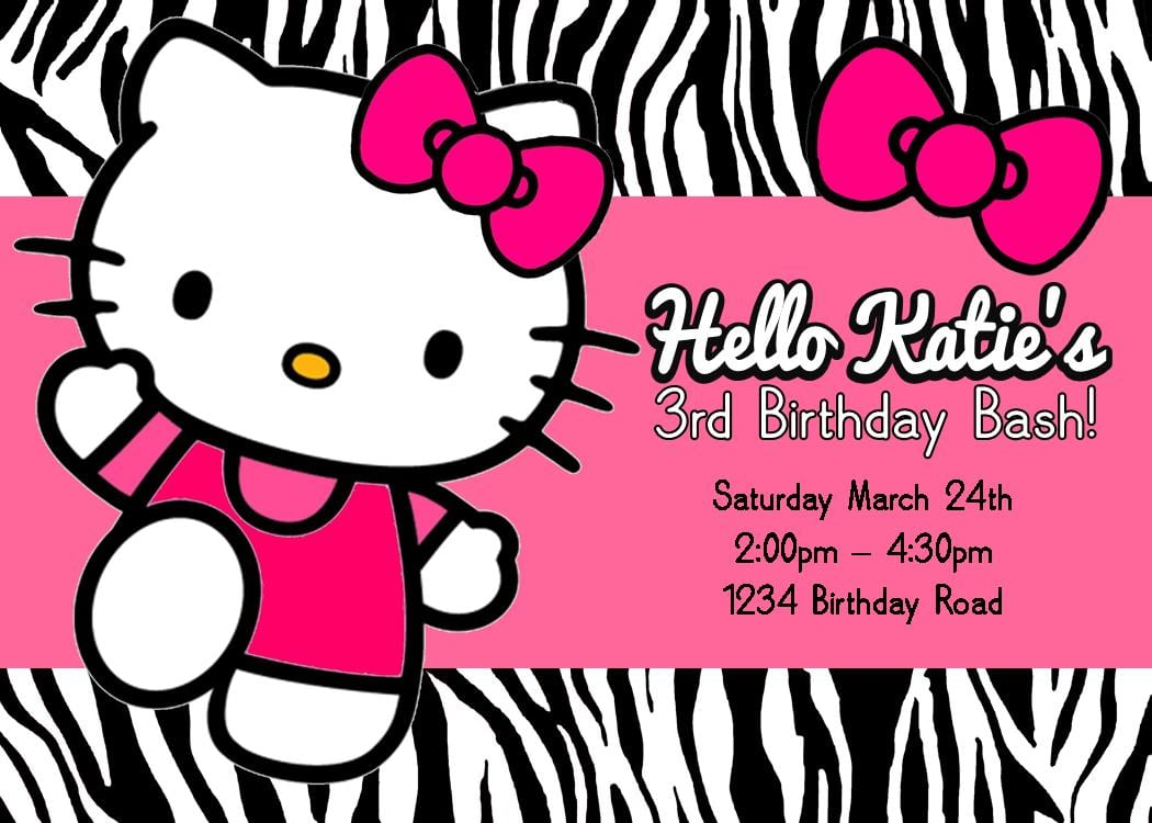Hello kitty first birthday invitations leoncapers hello kitty first birthday invitations stopboris Gallery