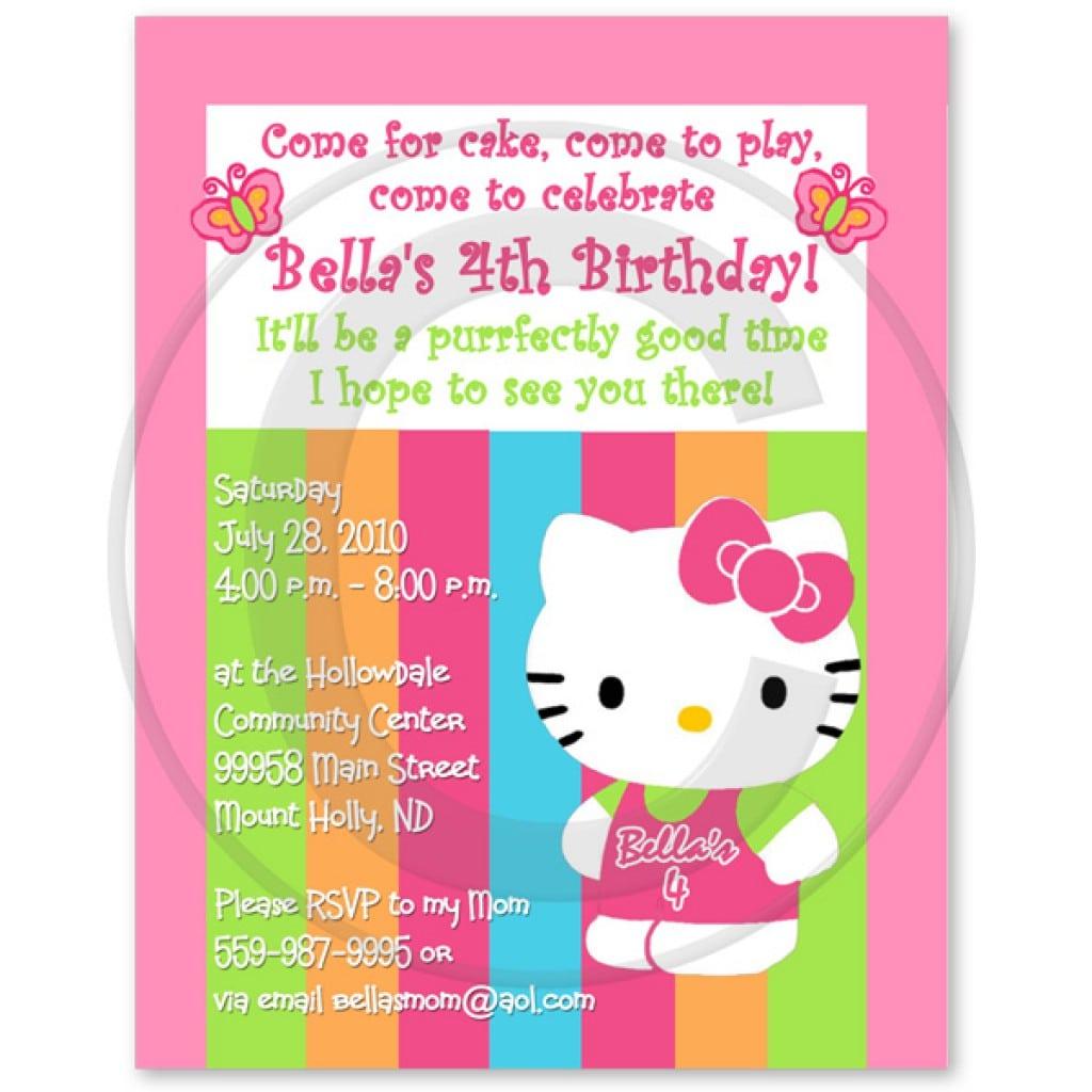 Printable Hellow Kitty Birthday Invite 2