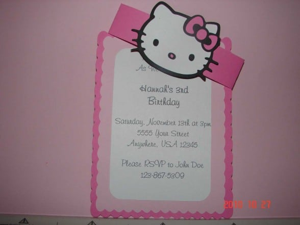 Printable Hellow Kitty Birthday Invite