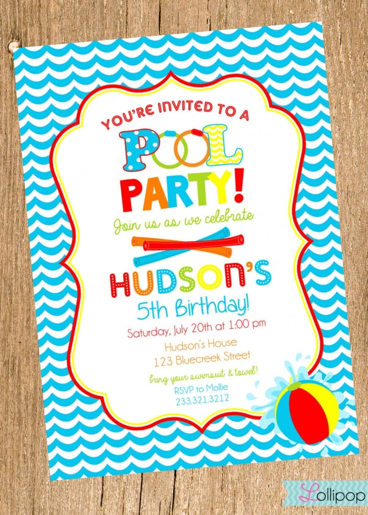 Printable Invitations For Pool Party