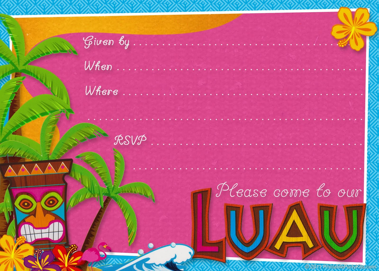 Printable Invitations Luau Party