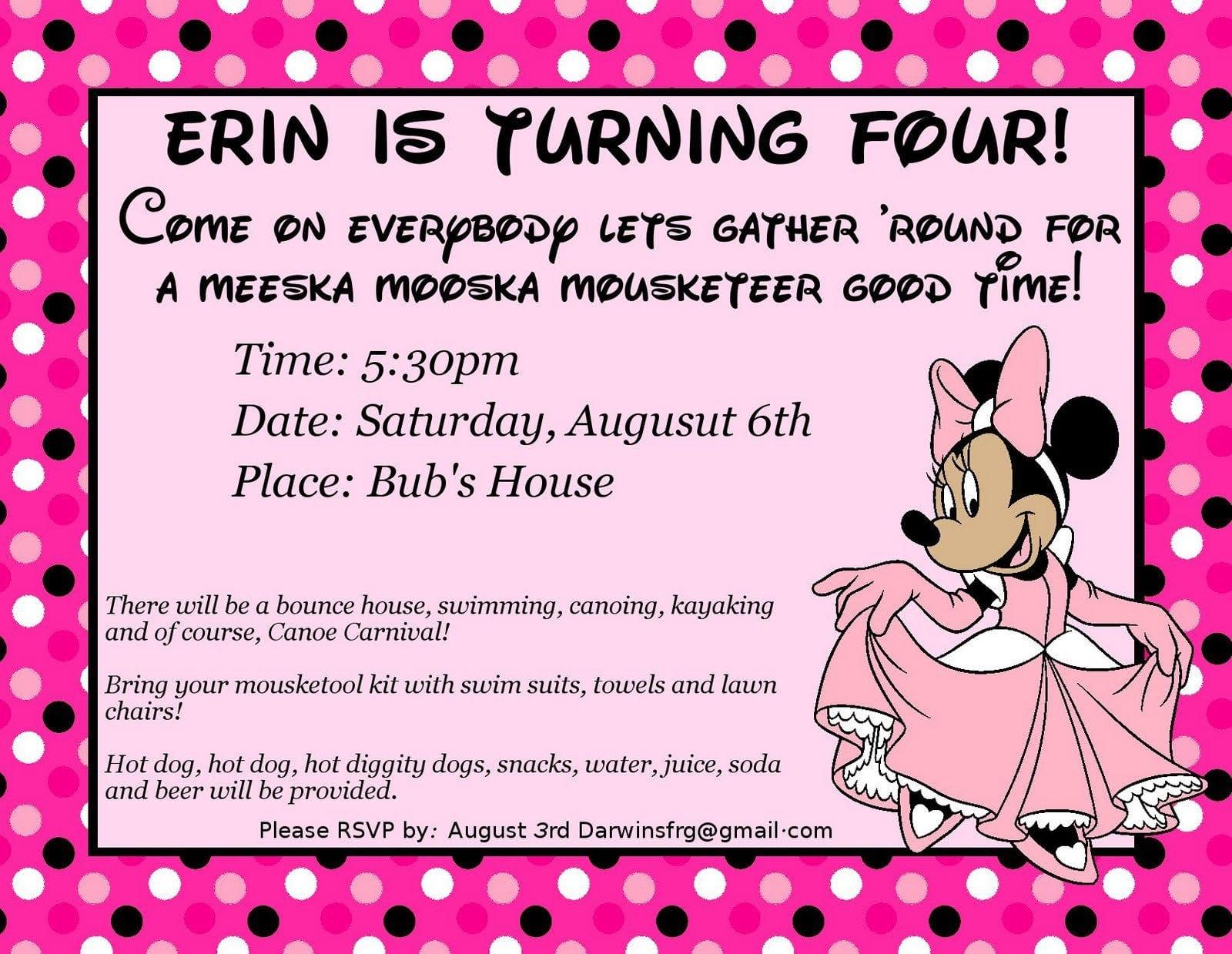 Printable Minnie Mouse Invitation Templates 2