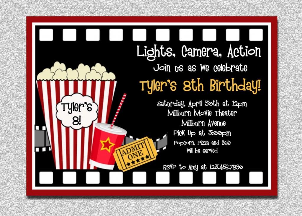 Printable Movie Themed Birthday Party Invitations