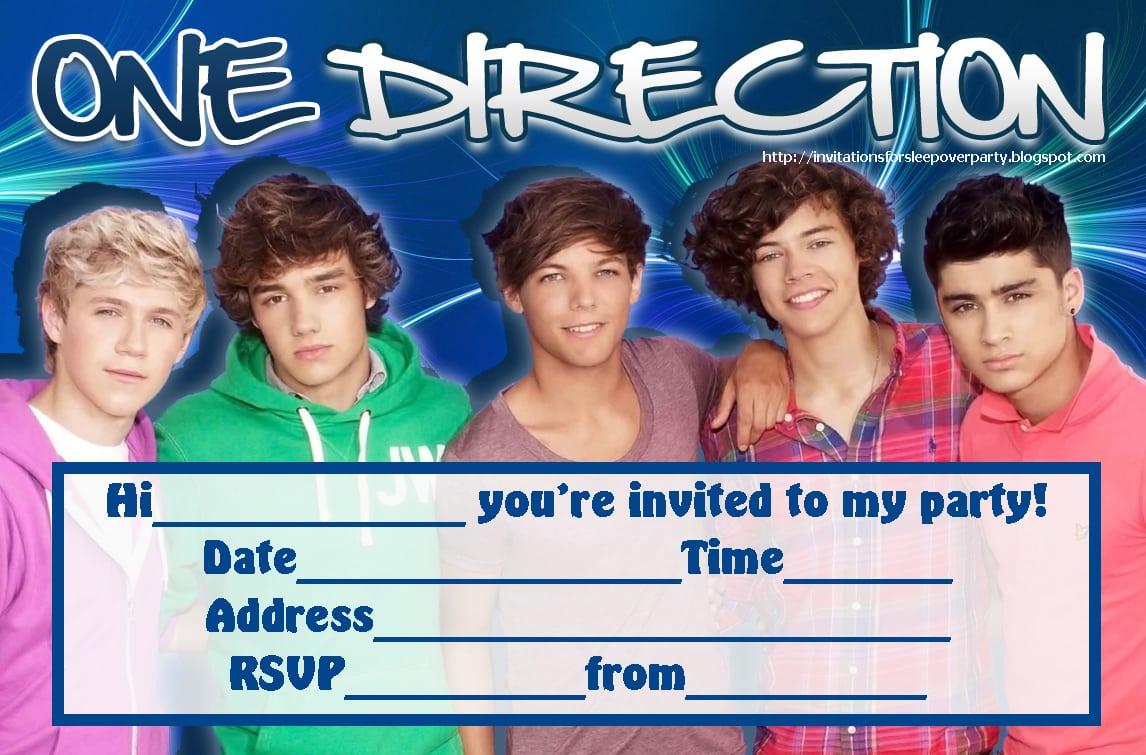 Printable One Direction Invites