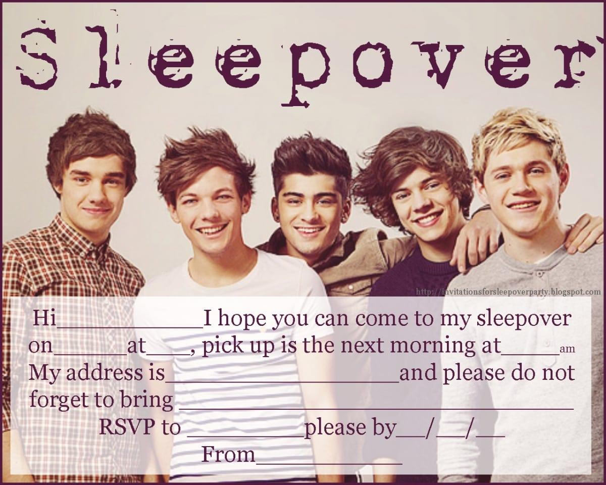 Printable One Direction Sleepover Invitations