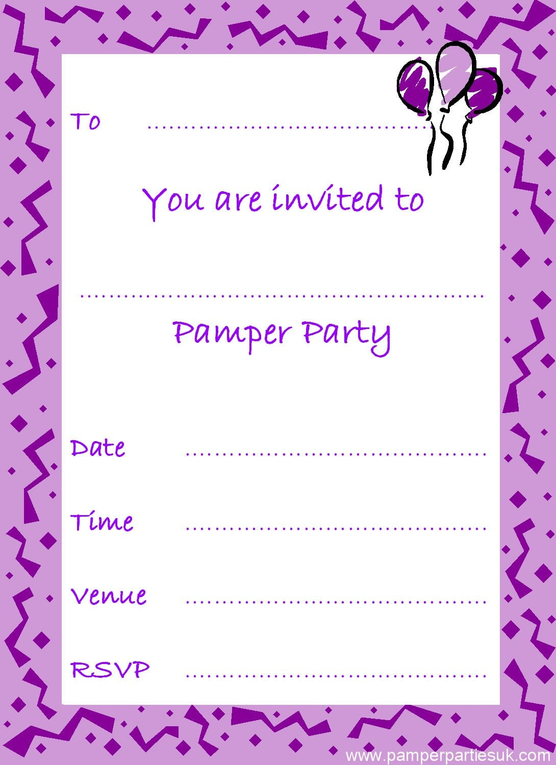 Free Printable Pamper Party Invitations