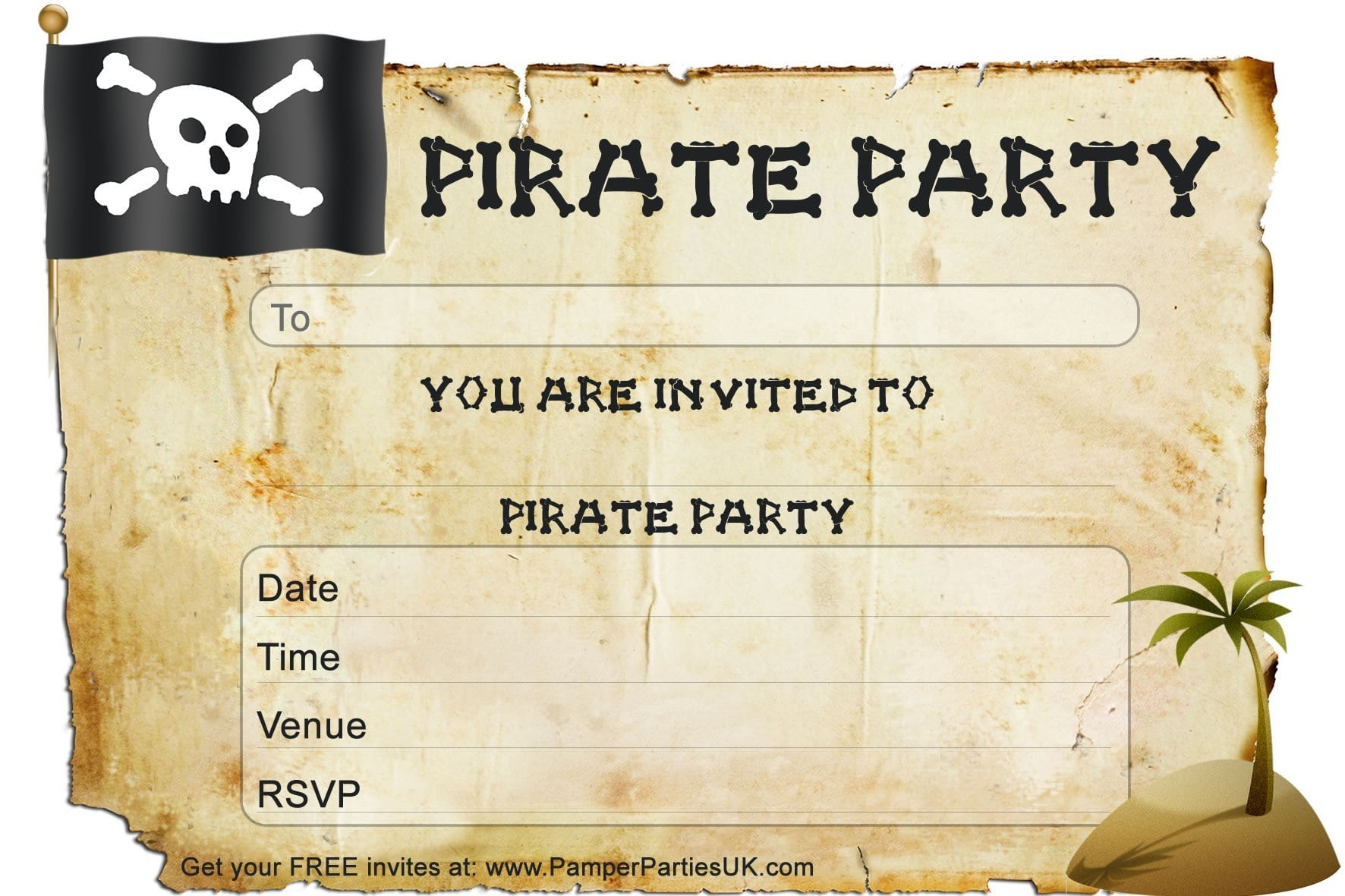 Printable Pirate Invitations Templates Free 3
