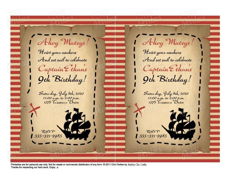 Printable Pirate Invitations Templates Free 4