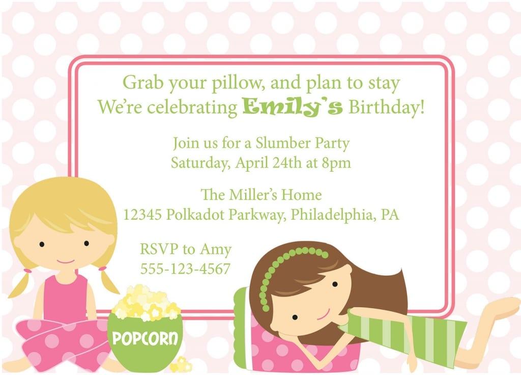 Printable Slumber Party Birthday Invitations Free