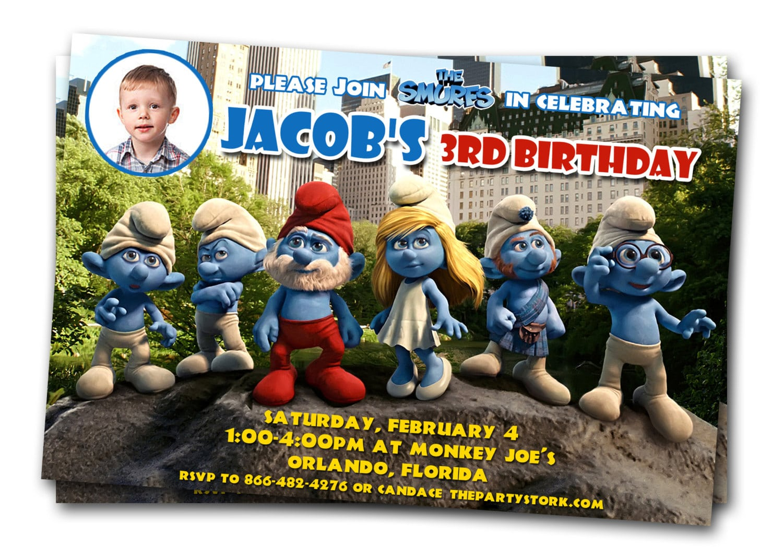 Printable Smurfs Birthday Party Invitations